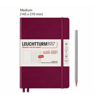 Leuchtturm Medium Agenda Weekly Planner & Notebook 2021, 18 Maanden, Port Red