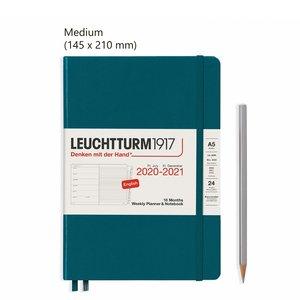 Leuchtturm Medium Agenda Weekly Planner & Notebook 2021, 18 Maanden, Pacific Green
