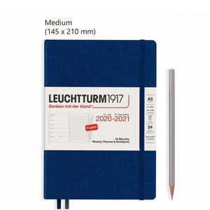 Leuchtturm Medium Agenda Weekly Planner & Notebook 2021, 18 Maanden, Navy