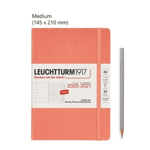 Leuchtturm Medium Agenda Weekly Planner & Notebook 2021, 18 Maanden, Bellini