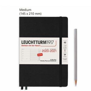 Leuchtturm Medium Agenda Weekly Planner & Notebook 2021, 18 Maanden, Black