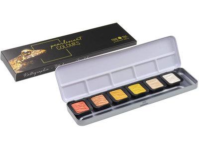 Finetec Aquarelverf metallic kleuren set 6 stuks